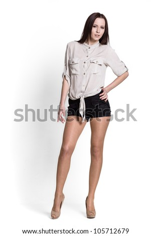 Beautiful woman wearing beige blouse with emotions - stock photo