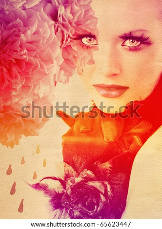 beautiful woman wearing gloves with rose on rainbow background with roses - stock photo