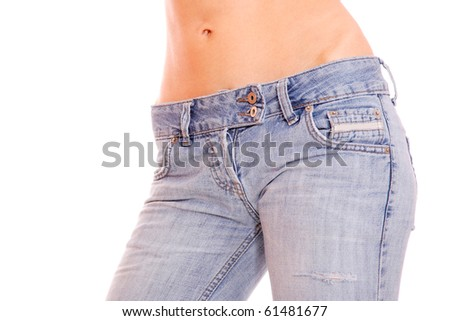 beautiful woman wearing jeans isolated on a white background