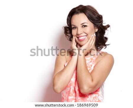 beautiful woman wearing pink summer dress on white background - stock photo