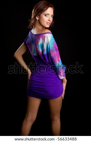 Beautiful woman wearing purple dress