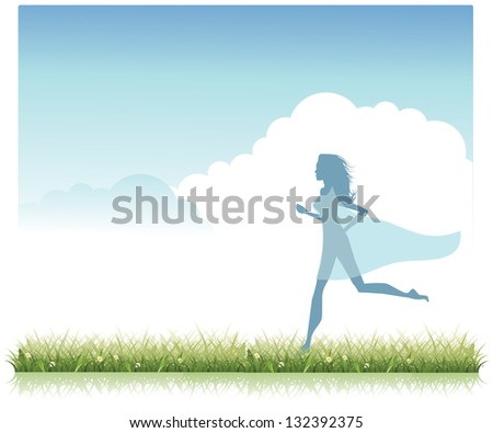 Beautiful woman wearing sheer dress running through a meadow. JPG - stock photo