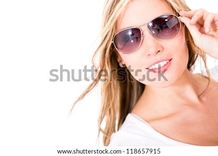 Beautiful woman wearing sunglasses - isolated over a white background - stock photo