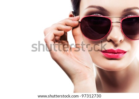 beautiful woman wearing sunglasses. Space for text.