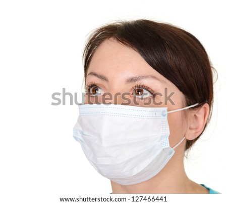 beautiful woman wearing surgical mask isolated on white background