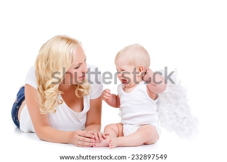 Beautiful woman with a baby angel. beautiful mother with angelic baby.