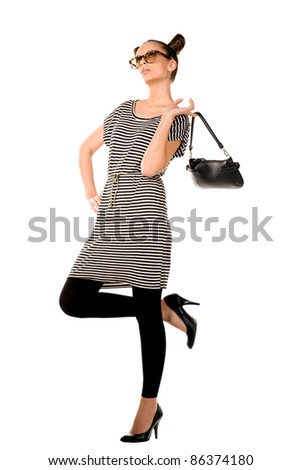 beautiful woman with a bag isolated background