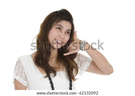 beautiful woman with a call me expression, isolated on white background - stock photo