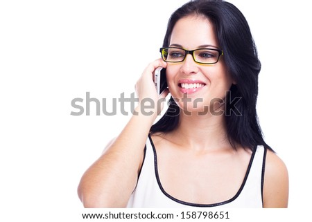 Beautiful woman with a cell phone solated on white background