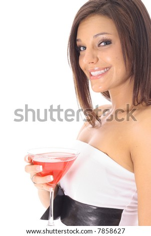 beautiful woman with a cocktail side - stock photo