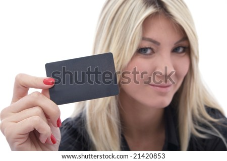 beautiful woman with a credit card on white - stock photo