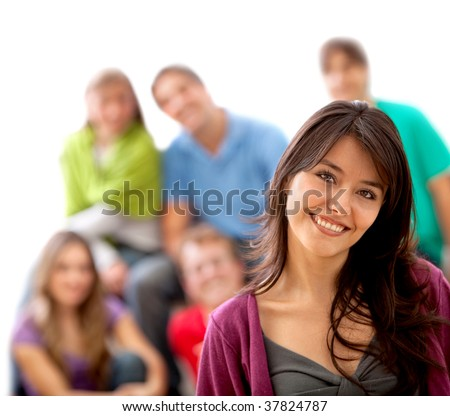 Beautiful woman with a group at the background isolated