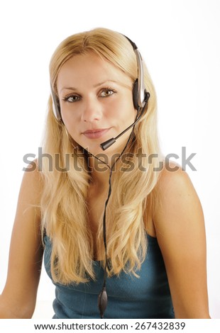Beautiful woman with a headset, casual clothing - stock photo