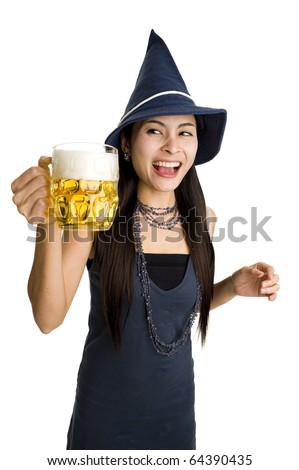 beautiful woman with a huge draft beer, isolate on white background