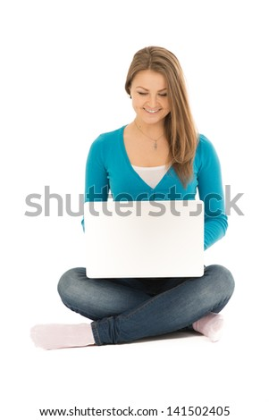 Beautiful woman with a notebook - stock photo