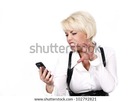 beautiful woman with a phone in his hand. Isolated on white background - stock photo
