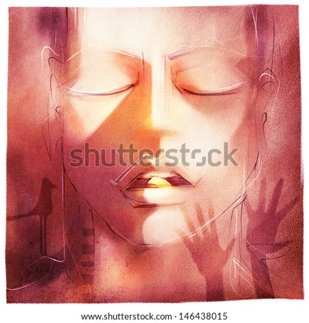 beautiful woman with a pill in a mouth, stylized illustrated metaphor for drug abuse, social issues etc. - stock photo