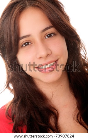 Beautiful woman with a small smile on her face - stock photo