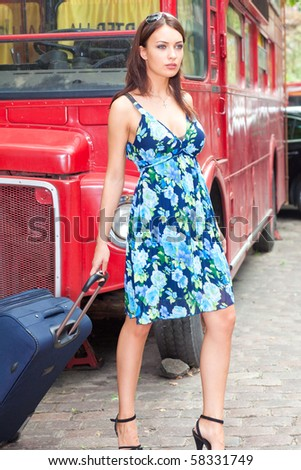 beautiful woman with a suitcase