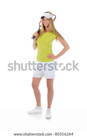 beautiful woman with a tennis racquet. Isolated on white background - stock photo