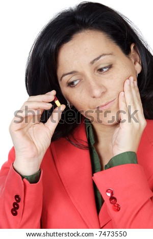 beautiful  woman with a toothache over white background - stock photo