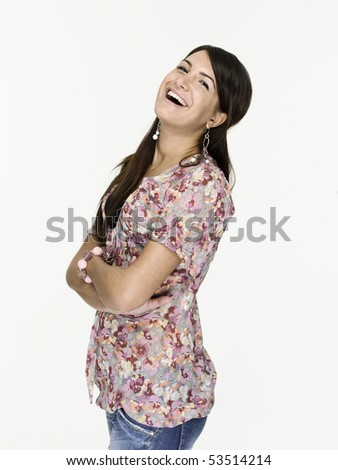 Beautiful woman with a very confident, freindly and big smile - stock photo