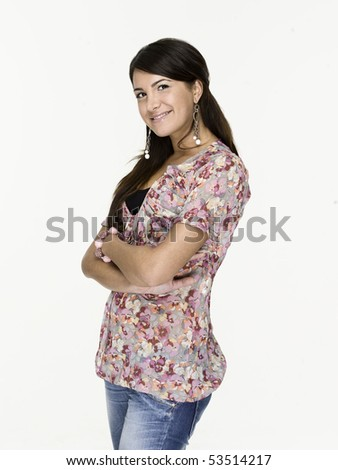 Beautiful woman with a very confident, freindly smile - stock photo