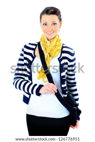 Beautiful woman with a yellow scarf, with her purse. Isolated on a white background. - stock photo