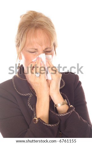 beautiful woman with allergies - stock photo