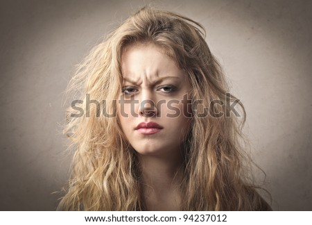 Beautiful woman with angry expression