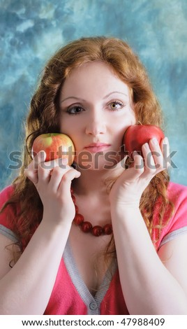 beautiful woman with apples - stock photo