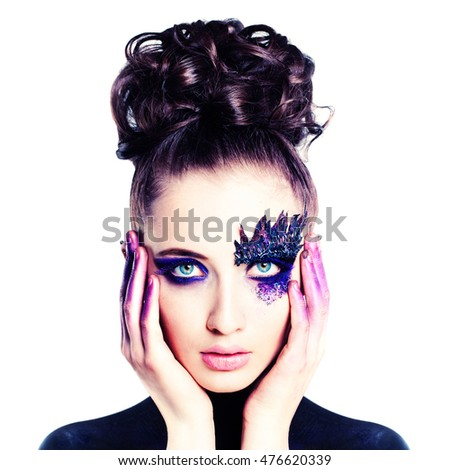 Beautiful Woman with Artistic Makeup Isolated on White Background