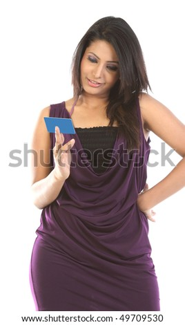 Beautiful woman with blue blank card - stock photo