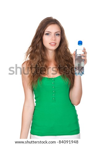 beautiful woman with bottle of water isolated over white background - stock photo