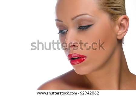 beautiful woman with bright red lips on the isolated background