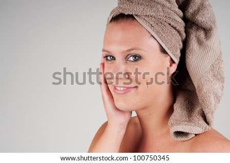 beautiful woman with brown towel