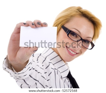 beautiful woman with card for text, over white - stock photo