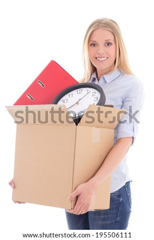 beautiful woman with cardboard box ready for moving day isolated on white background - stock photo
