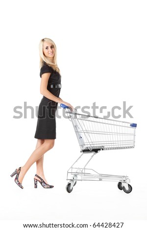 beautiful woman  with  cart over white background - stock photo