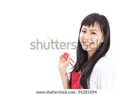 beautiful woman with chopsticks, isolated on white background - stock photo