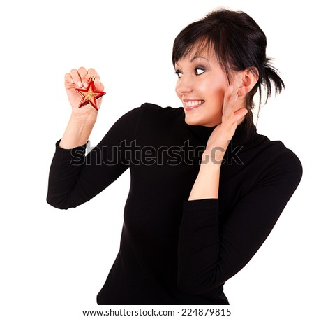 beautiful woman with Christmas star, white background - stock photo