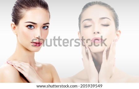 Beautiful woman with clean, fresh skin  - stock photo
