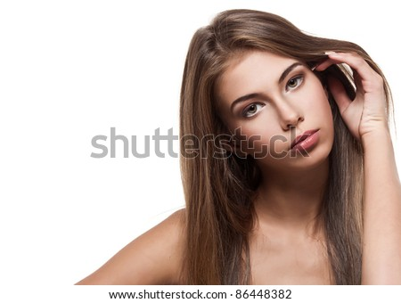 Beautiful woman with clean healthy skin isolated - stock photo