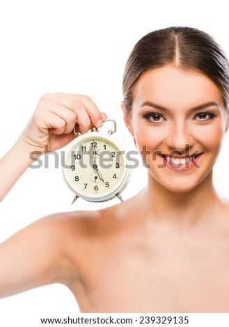 Beautiful woman with clock close up, smiling  - stock photo