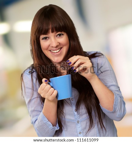 Beautiful Woman With Coffee And Cookies, Indoor