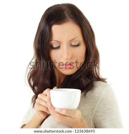 Beautiful woman with coffee or tea - stock photo