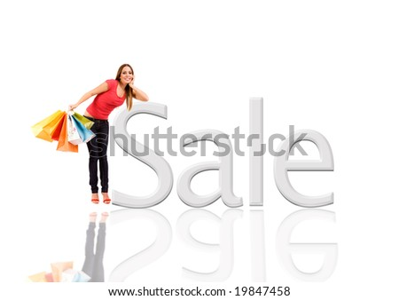 Beautiful woman with colorful shopping bags lean on sale. - stock photo