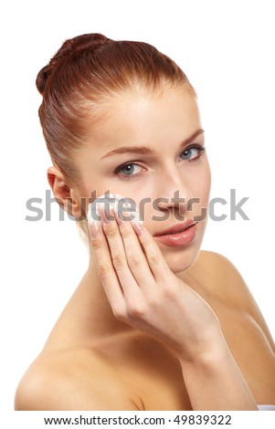 beautiful woman with cotton swab