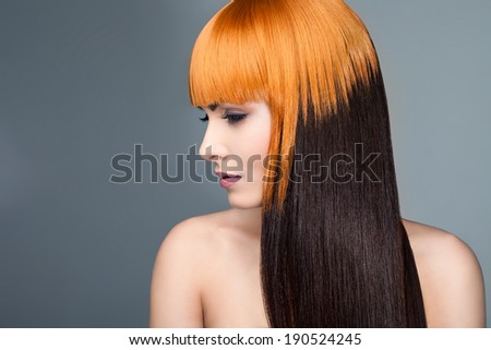 beautiful woman with creative colored hair