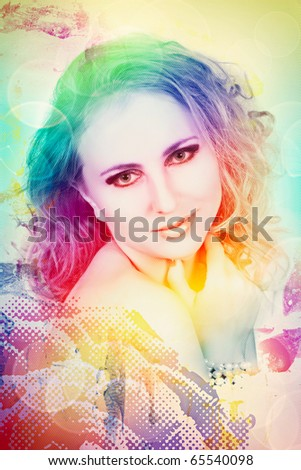 beautiful woman with curly hair on rainbow background with halftone pattern and bokeh - stock photo